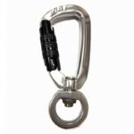 Black swivel locking carabineer clip for dog lead