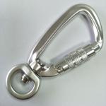 15MM silver aluminum lock hook carabiner with swivel