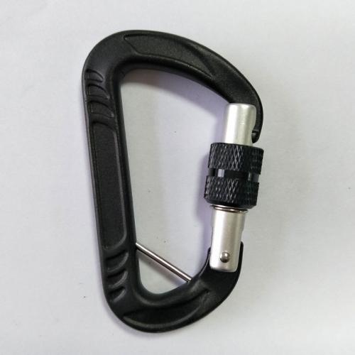 black aluminum screw locking carabiner