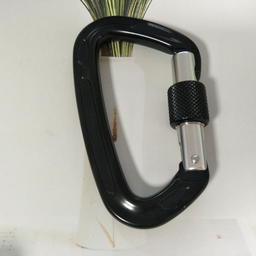 black carabiner with screw